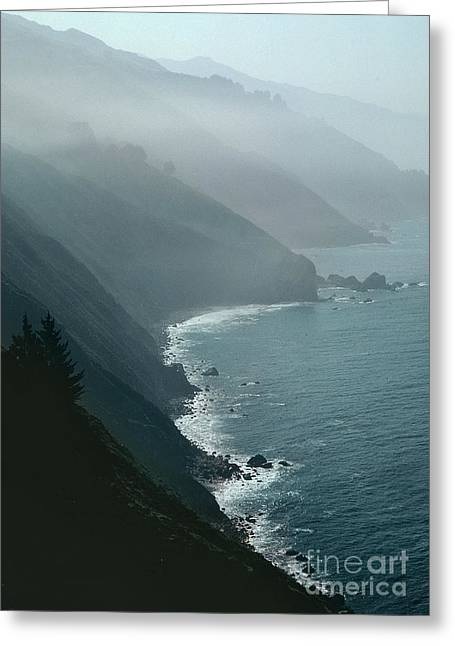 Foggy Ocean Greeting Cards - California coastline Greeting Card by Unknown