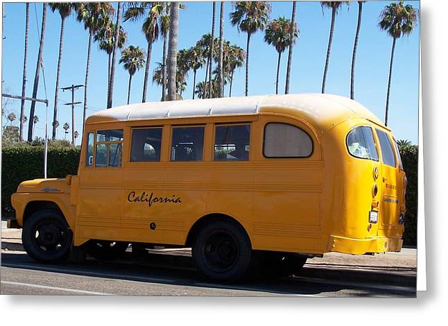 School Bus Print Greeting Cards - California Dreamin Greeting Card by Jewels Blake Hamrick
