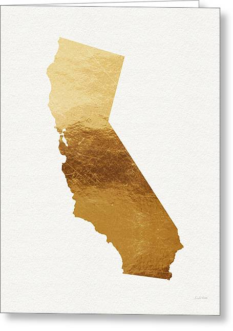 Metallic Greeting Cards - California Gold- Art by Linda Woods Greeting Card by Linda Woods