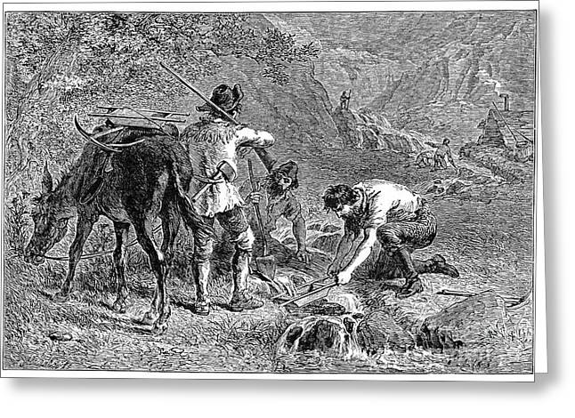Sluice Greeting Cards - California: Gold Miners Greeting Card by Granger