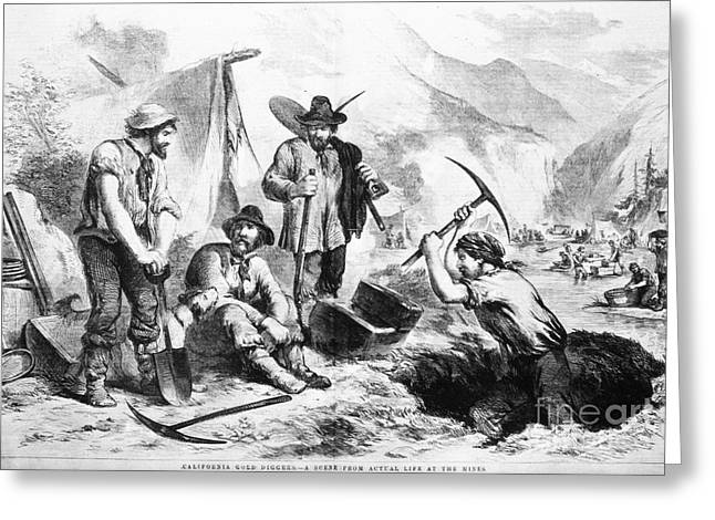 Westward Expansion Greeting Cards - California Gold Rush, 1856 Greeting Card by Granger
