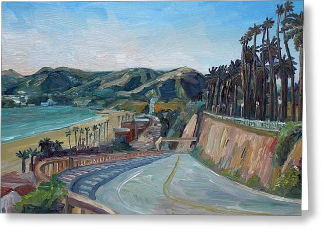 Pch Paintings Greeting Cards - California Incline Greeting Card by John Kilduff