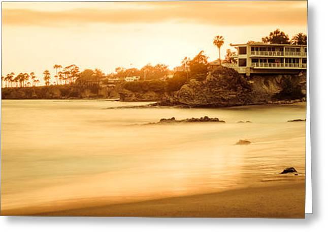 Panoramic Ocean Greeting Cards - California Laguna Beach Sunset Panorama Photo Greeting Card by Paul Velgos