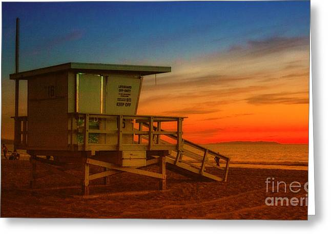 California Beach Art Greeting Cards - California Lifeguard Tower At Sunset  Greeting Card by Jerry Cowart