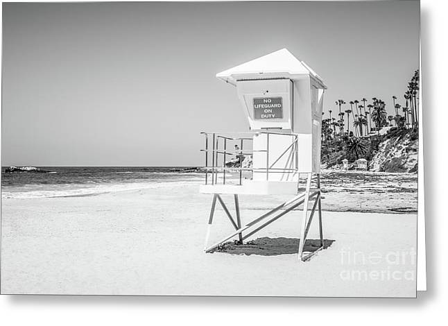 California Lifeguard Tower In Black And White Greeting Card by Paul Velgos
