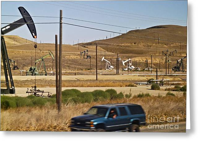 Oil Pumper Photographs Greeting Cards - California oil field 14PDXL077 Greeting Card by Howard Stapleton
