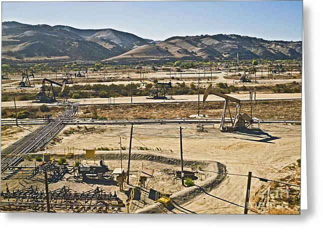 Oil Pumper Photographs Greeting Cards - California oil field 14PDXL084 Greeting Card by Howard Stapleton