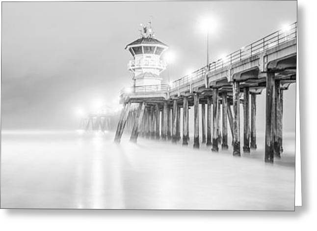 Surf City Greeting Cards - California Pier Black and White Panorama Photo Greeting Card by Paul Velgos