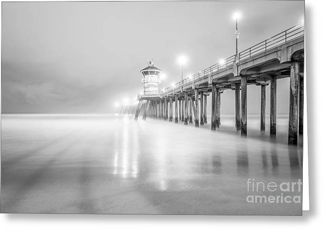 Huntington Beach Pier Greeting Cards - California Pier in Black and White Greeting Card by Paul Velgos