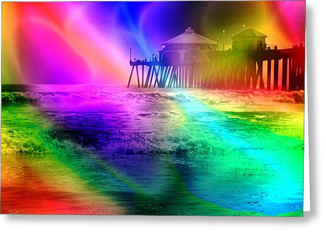 California Ocean Photography Greeting Cards - California Pier Pop Art Greeting Card by Stephen  Killeen