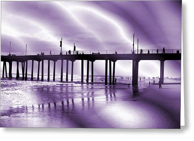 California Ocean Photography Greeting Cards - California Pier Silhouette Greeting Card by Stephen  Killeen