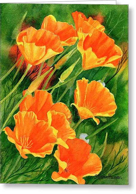 Realistic Watercolor Greeting Cards - California Poppies Faces Up Greeting Card by Sharon Freeman