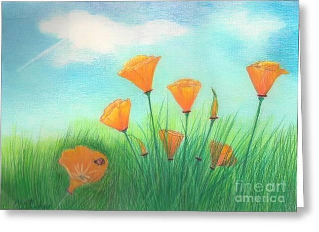 California Poppies Greeting Card by Janet Hinshaw