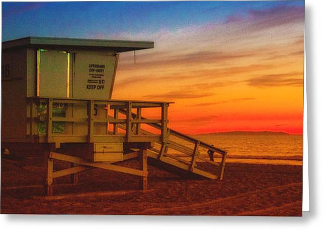 California Ocean Photography Greeting Cards - California Santa Monica Beach Lifeguard Tower At Sunset   Greeting Card by Jerry Cowart