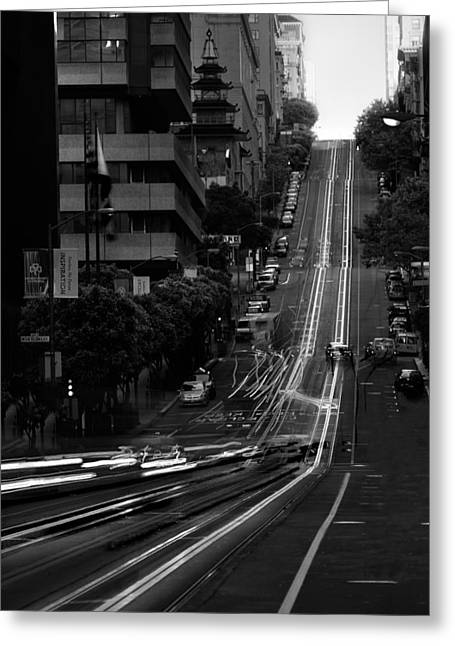 Cables Greeting Cards - California St San Francisco Greeting Card by Steve Gadomski