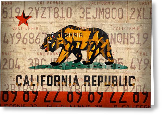 Californian Mixed Media Greeting Cards - California State Flag Recycled Vintage License Plate Art Greeting Card by Design Turnpike