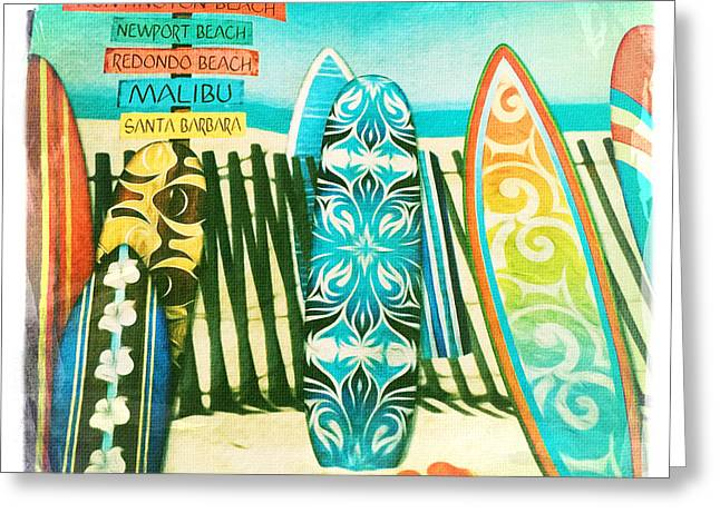 California Beaches Greeting Cards - California Surfboards Greeting Card by Nina Prommer
