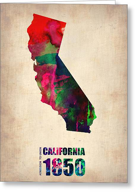 State Map Greeting Cards - California Watercolor Map Greeting Card by Naxart Studio