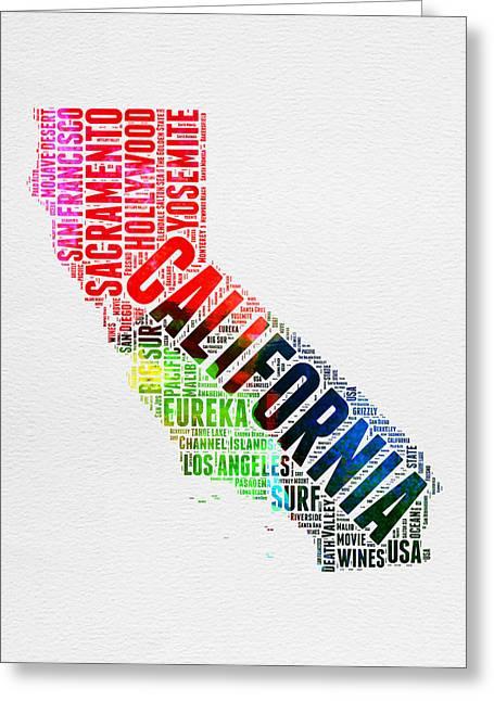 San Francisco Greeting Cards - California Watercolor Word Map Greeting Card by Naxart Studio