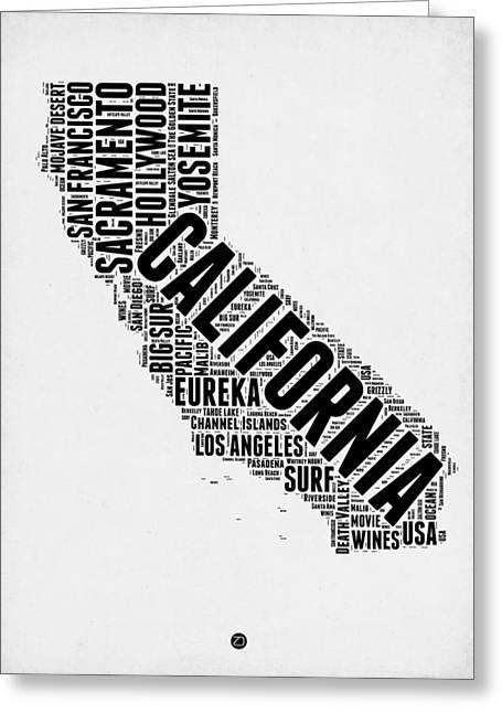San Francisco Greeting Cards - California Word Cloud Map 2 Greeting Card by Naxart Studio