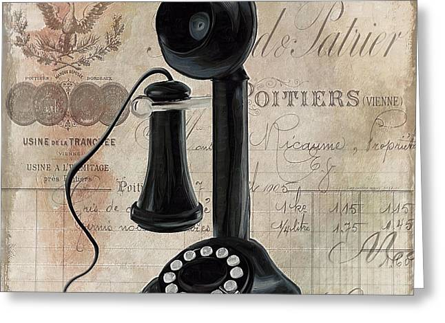 1930Õs Greeting Cards - Call Waiting I Greeting Card by Mindy Sommers