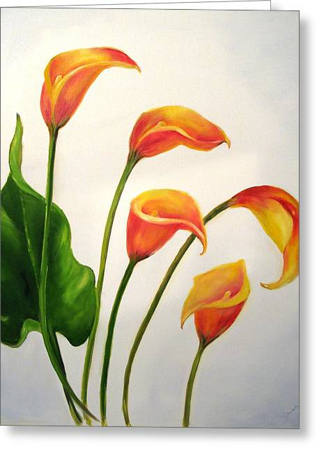 Calla Lily Greeting Cards - Calla Lilies Greeting Card by Carol Sweetwood