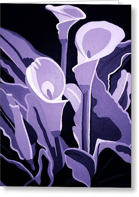 Calla Lillies Lavender Greeting Card by Angelina Vick