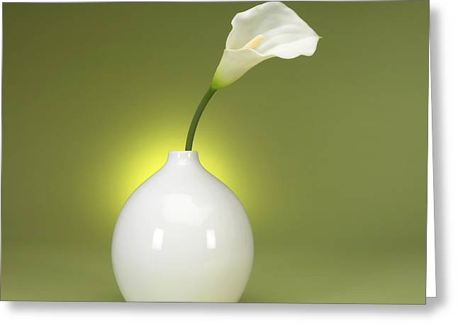Calla Lily Greeting Cards - Calla Lily and Vase Greeting Card by Tony Ramos