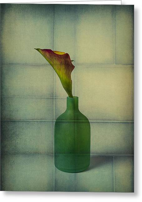Calla Lily In Green Vase Greeting Card by Garry Gay