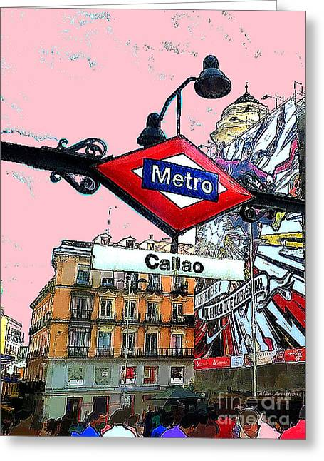 Madrid Greeting Cards - Callao Metro Entrance Pink Sky Madrid Greeting Card by Alan Armstrong