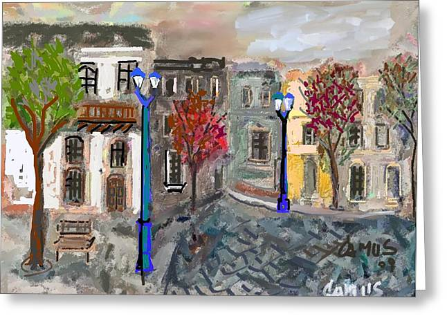 Paisajes. Pastels Greeting Cards - Calle Chile Greeting Card by Carlos Camus