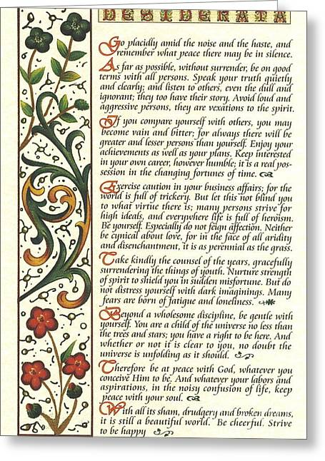 Calligraphy Print Mixed Media Greeting Cards - Calligraphy DESIDERATA Watercolor Wildflower Greeting Card by Desiderata Gallery