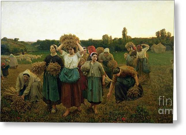 Farmers Field Greeting Cards - Calling in the Gleaners Greeting Card by Jules Breton