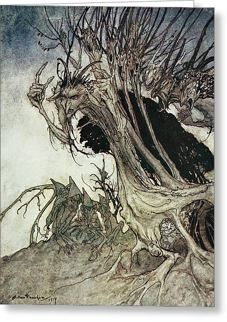 Shadows Drawings Greeting Cards - Calling shapes and beckoning shadows dire Greeting Card by Arthur Rackham