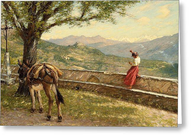 Blue Blouse Greeting Cards - Calling to the Valley Greeting Card by Henry Herbert La Thangue