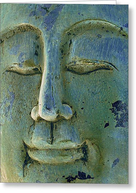 Blue And Green Photographs Greeting Cards - Calm Buddha Greeting Card by Marion McCristall