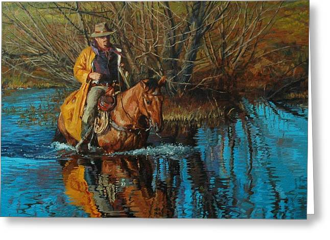 Rancher Greeting Cards - Calm Crossing Greeting Card by Jim Clements