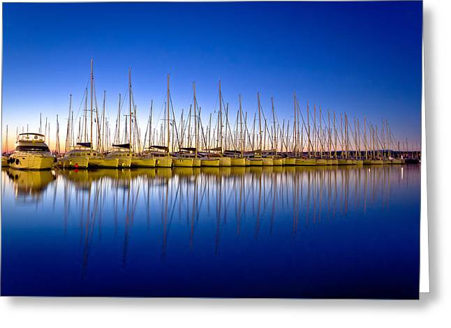 Docked Boats Greeting Cards - Calm evening in sailing harbor Greeting Card by Dalibor Brlek