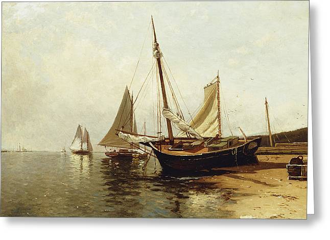 Calm Morning, Portland Harbor Greeting Card by Alfred Thompson Bricher