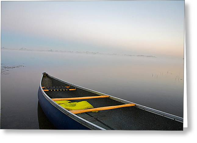 Canoe Photographs Greeting Cards - Calm Greeting Card by Theo Tan