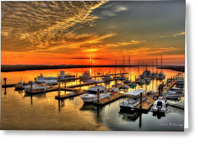 Calm Waters Bull River Marina Savannah Georgia Greeting Card by Reid Callaway