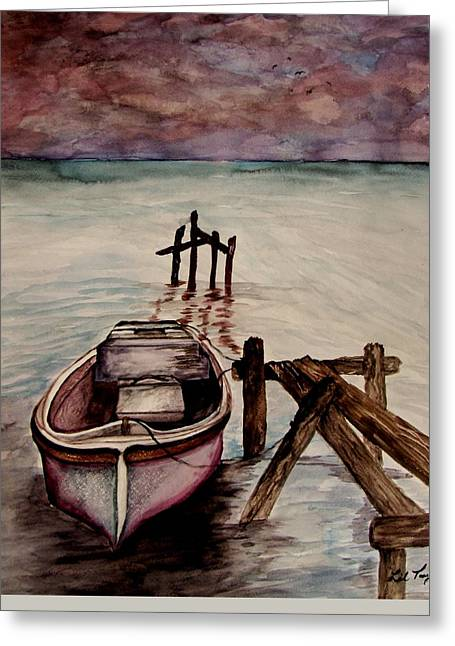 Recently Sold -  - Grey Clouds Greeting Cards - Calm Waters Greeting Card by Lil Taylor