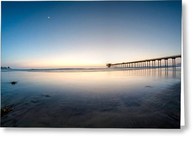 Beach At Night Greeting Cards - Calm Waters Greeting Card by Manuela Durson