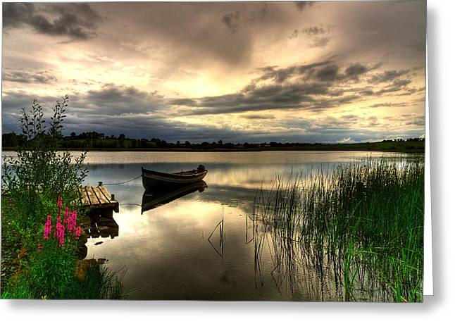 Calm Waters Mixed Media Greeting Cards - Calm Waters on Lough Erne Greeting Card by Kim Shatwell-Irishphotographer