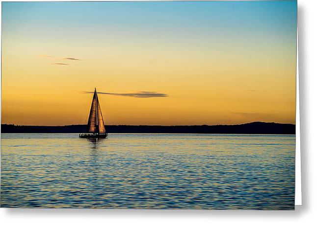 A Summer Evening Landscape Greeting Cards - Calm Waters Greeting Card by TL  Mair