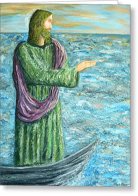 Book Cover Art Greeting Cards - Calms the storm Greeting Card by Thecla Correya