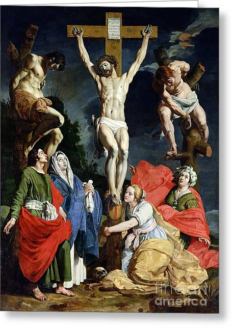Sacrifice Greeting Cards - Calvary Greeting Card by Abraham Janssens van Nuyssen