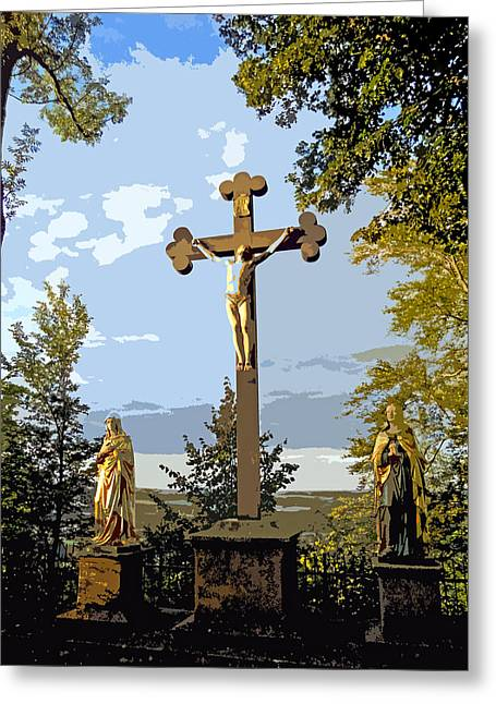 Calvary Group - Parkstein Greeting Card by Juergen Weiss
