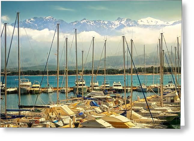 Sea View Greeting Cards - Calvi Harbor Greeting Card by Maria Coulson