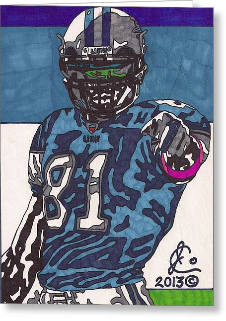 Player Drawings Greeting Cards - Calvin Johnson Jr 4 Greeting Card by Jeremiah Colley